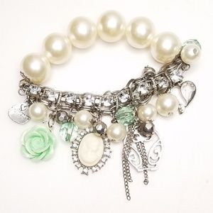 Lime Green Silver Owl Cameo Pearl Charm Bracelet